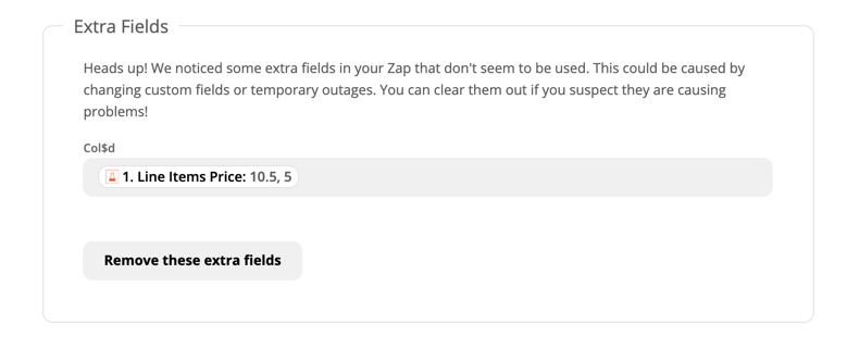 """A Zap action step showing """"Extra fields"""""""