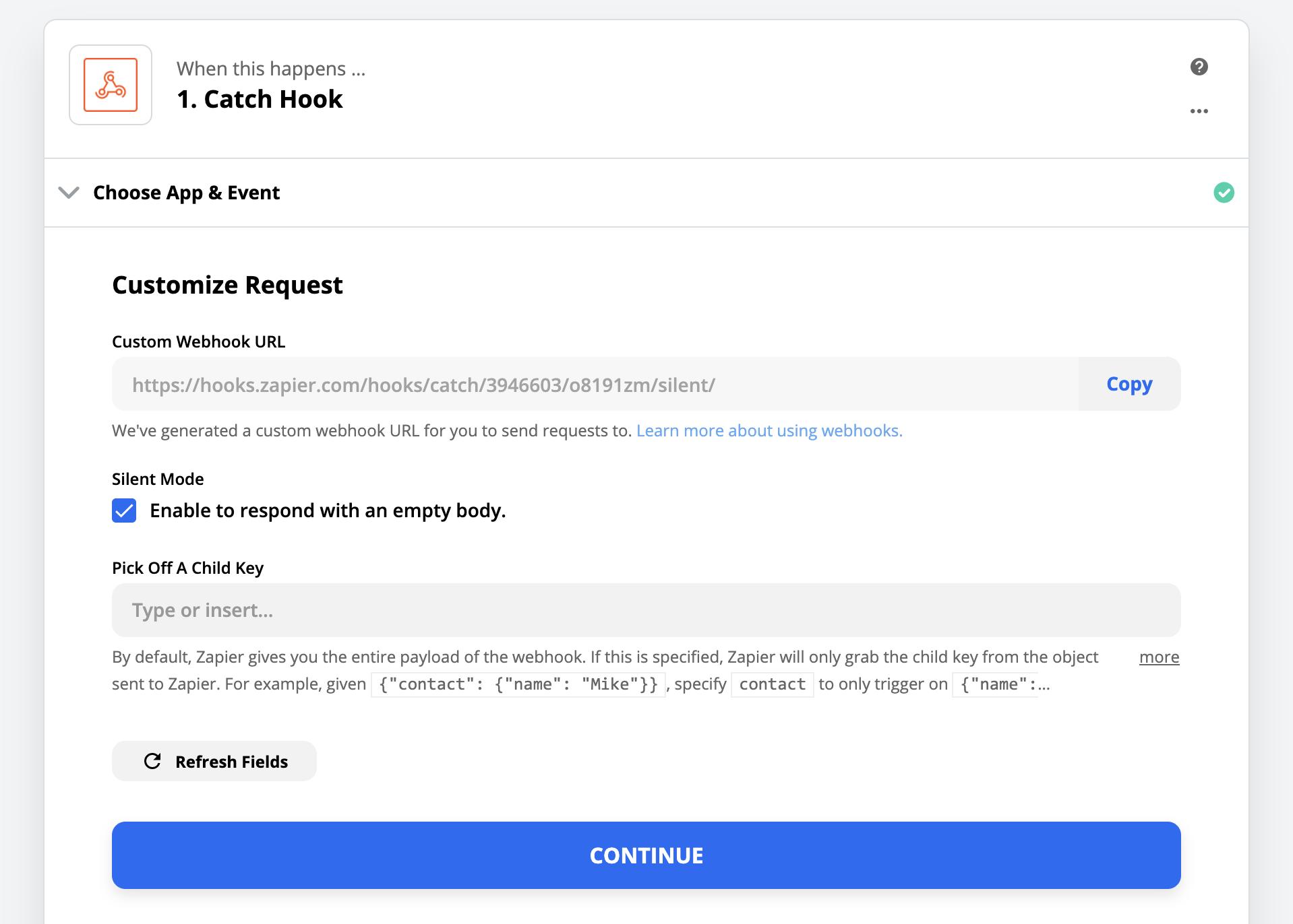 Copy Webhooks URL from Zapier