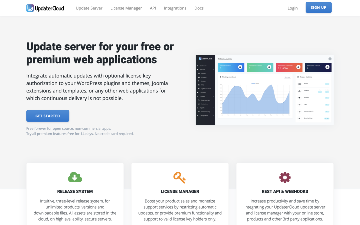 Updatr home page