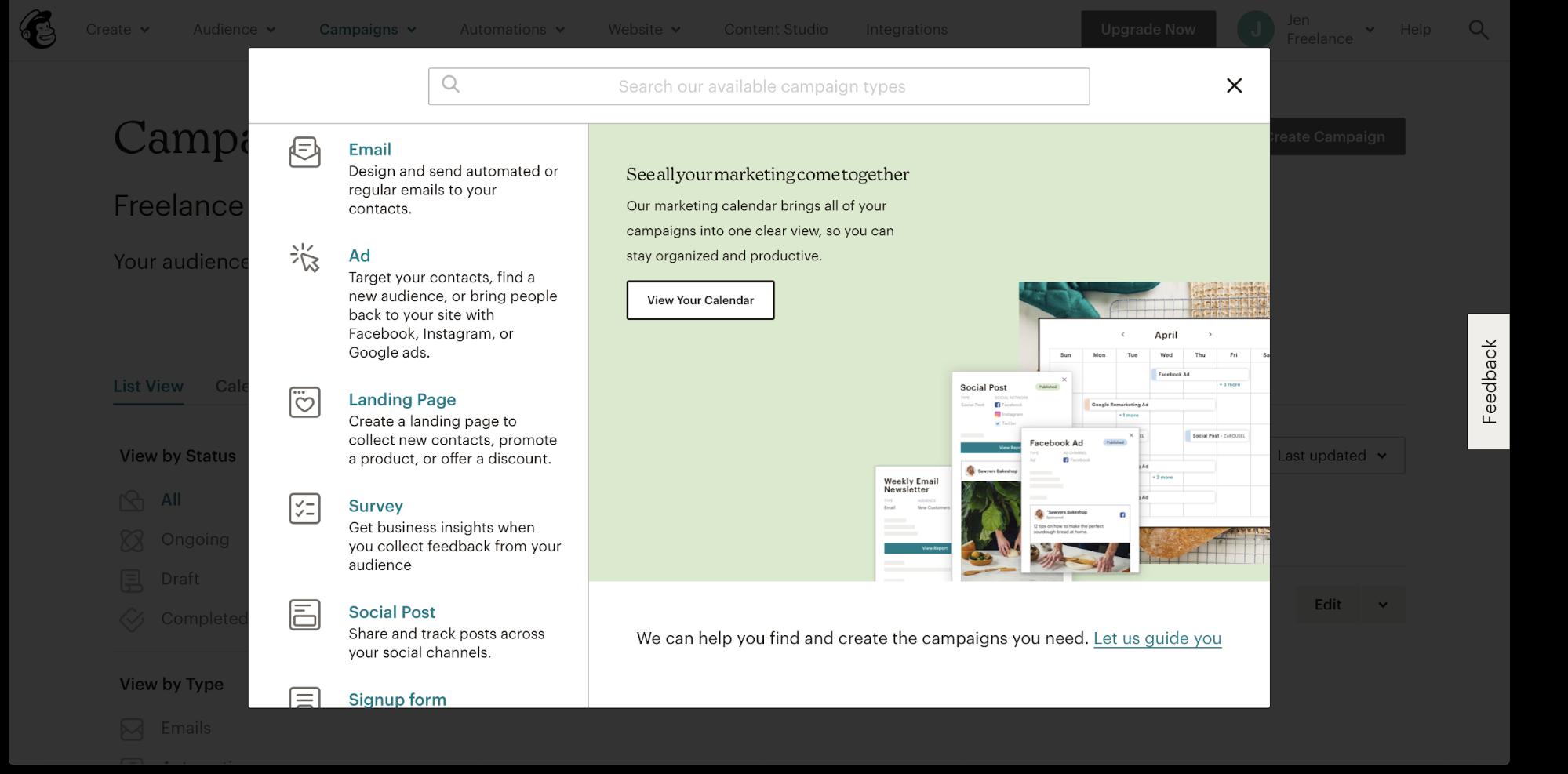 Mailchimp's intuitive interface