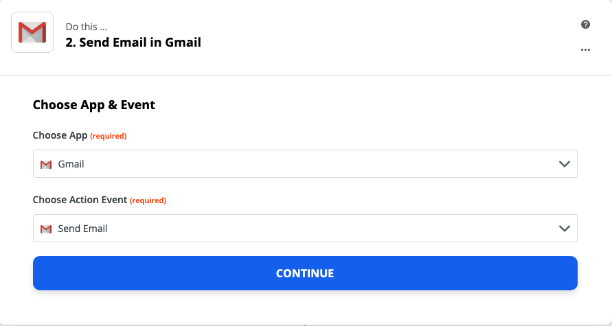 A screenshot of the Gmail step in the Zap Editor.