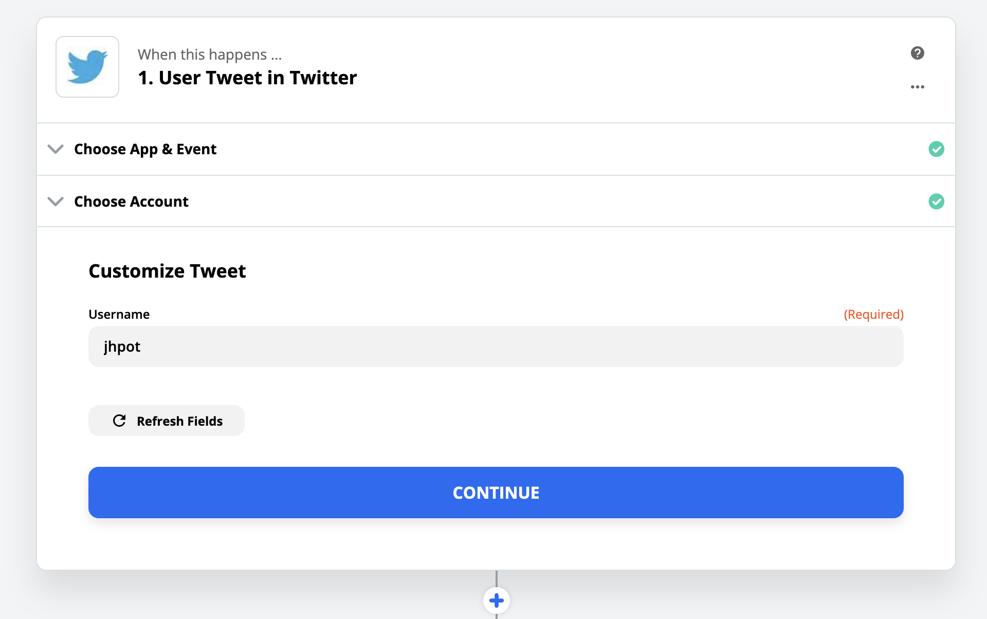 Searching for a specific Twitter user in Zapier