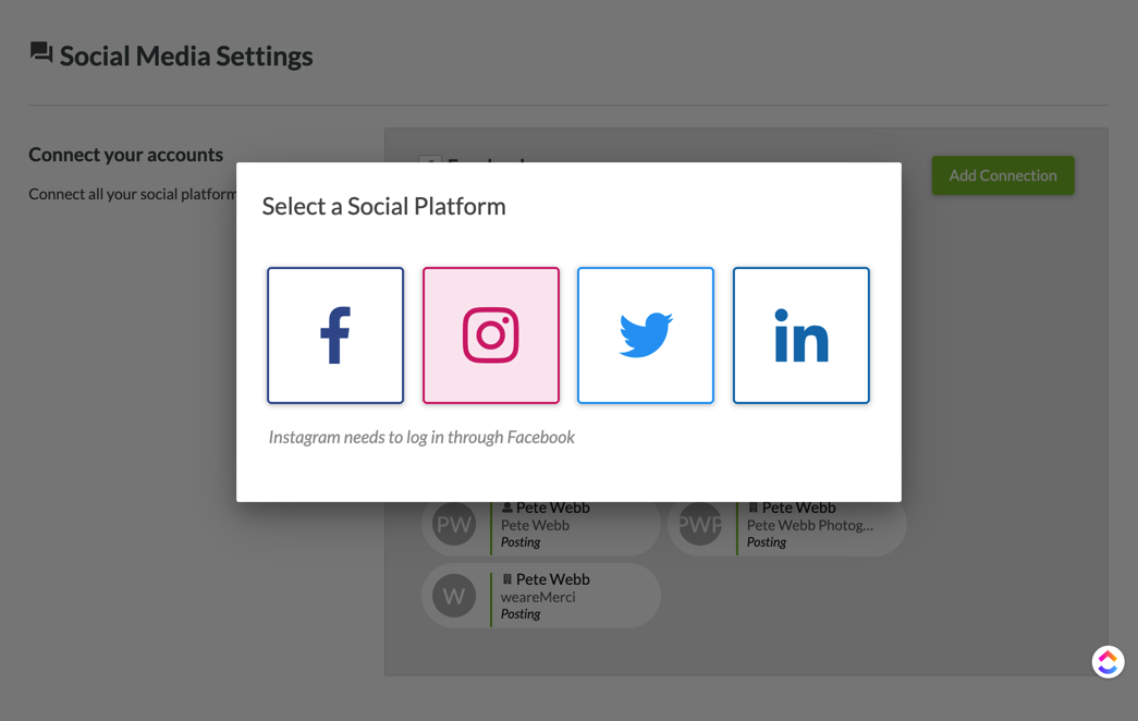SharpSpring's Social Media Settings page, asking the user to select a Social Platform for a new connection. Instagram is highlighted.