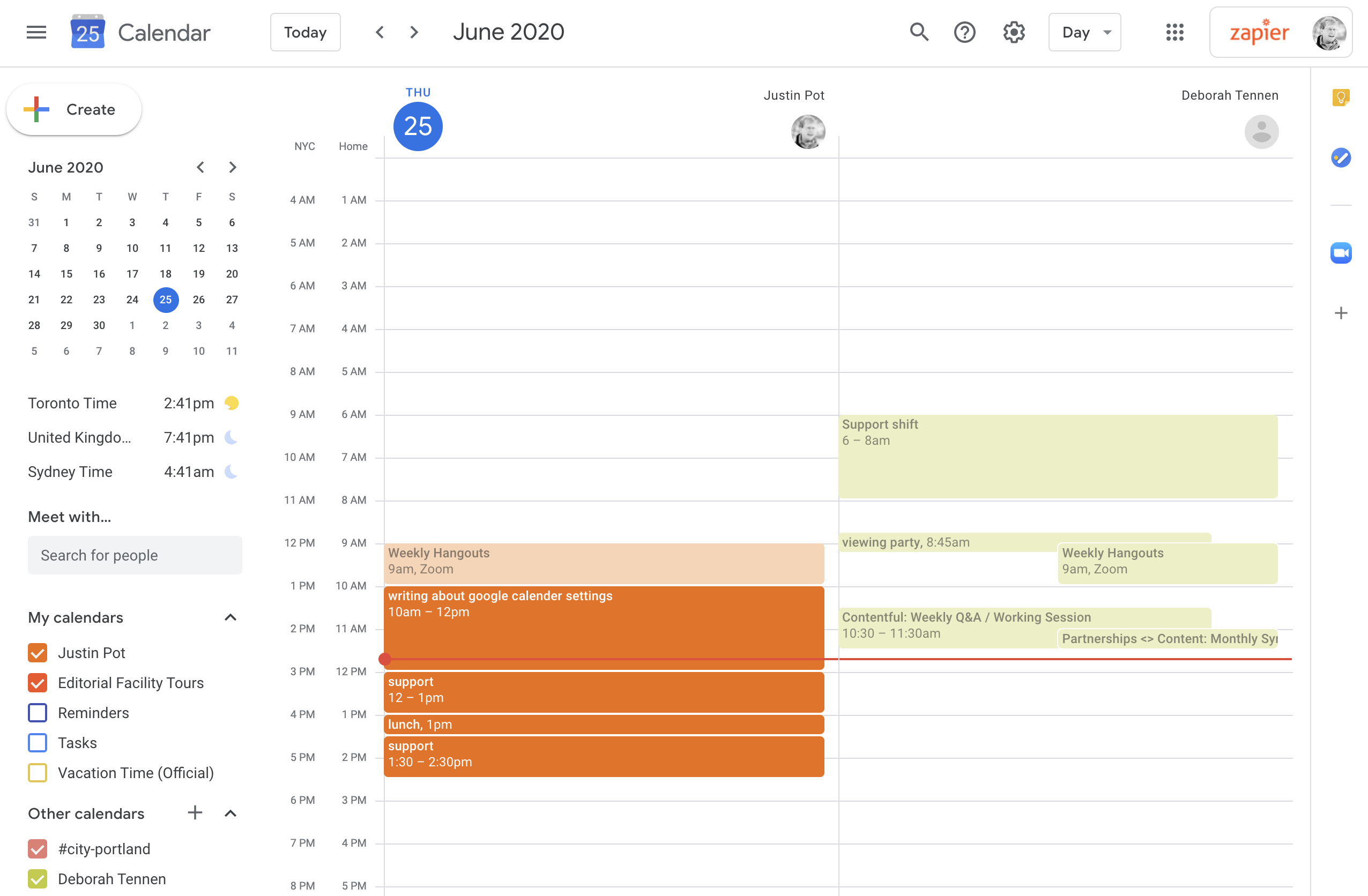 Two calendars side by side in Google Calendar