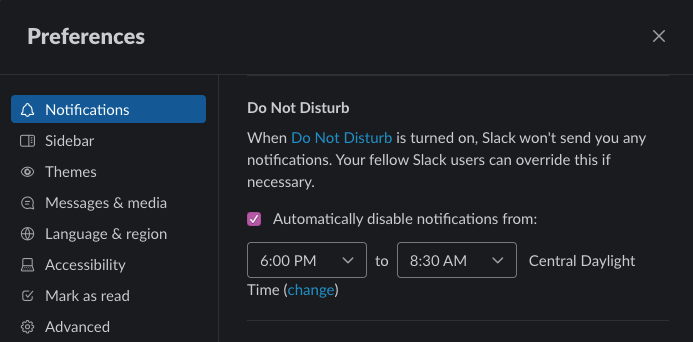 A screenshot of Slack's notification settings. The app has a scheduled Do Not Disturb feature with dropdown menus to select time.