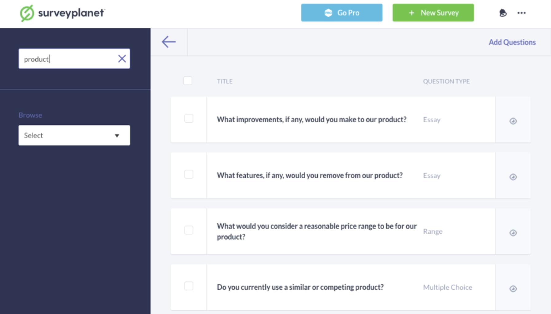 SurveyPlanet pre-written questions