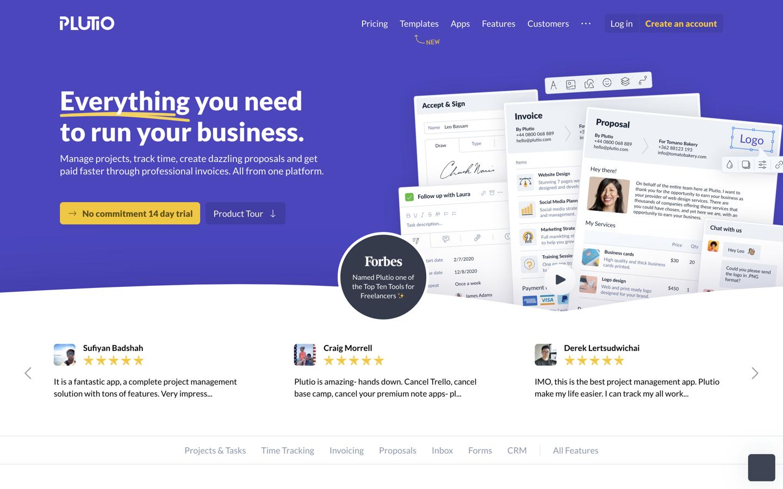 Plutio home page