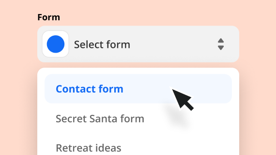 An image showing different forms to select from to set up your Zap.