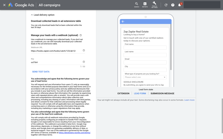 Google Lead Form Extension