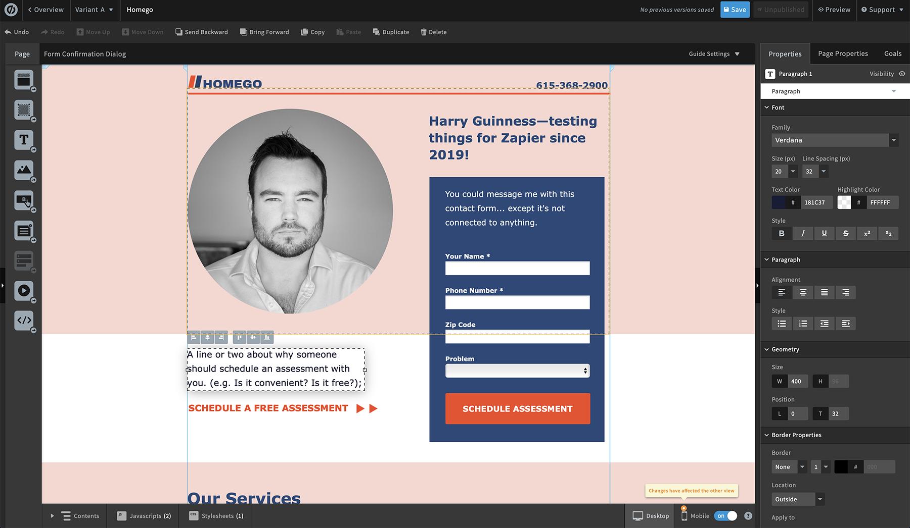 Unbounce screenshot