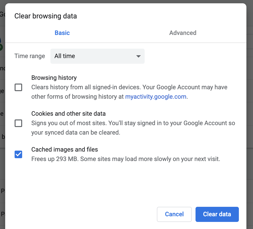 A screenshot of clearing your cache in Chrome