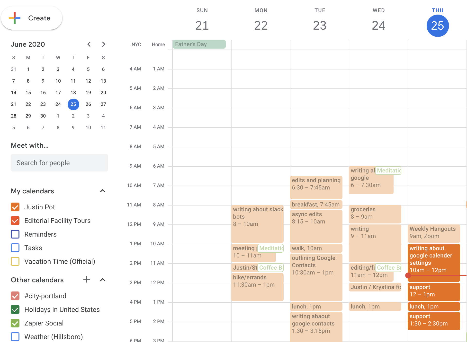 Faded past events in Google Calendar