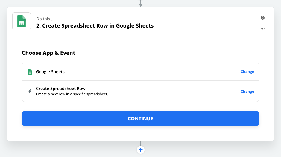 Configuring your action step to add a new row in Google Sheets.