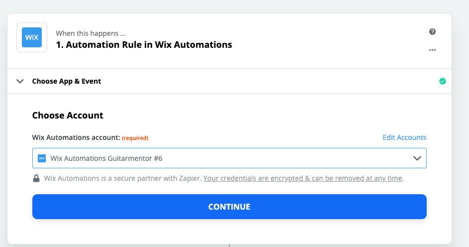 Wix Automations connection successful