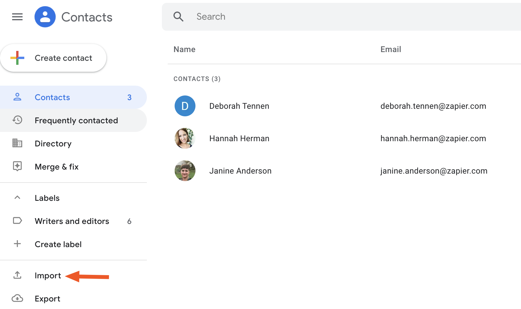 Import button in Google Contacts
