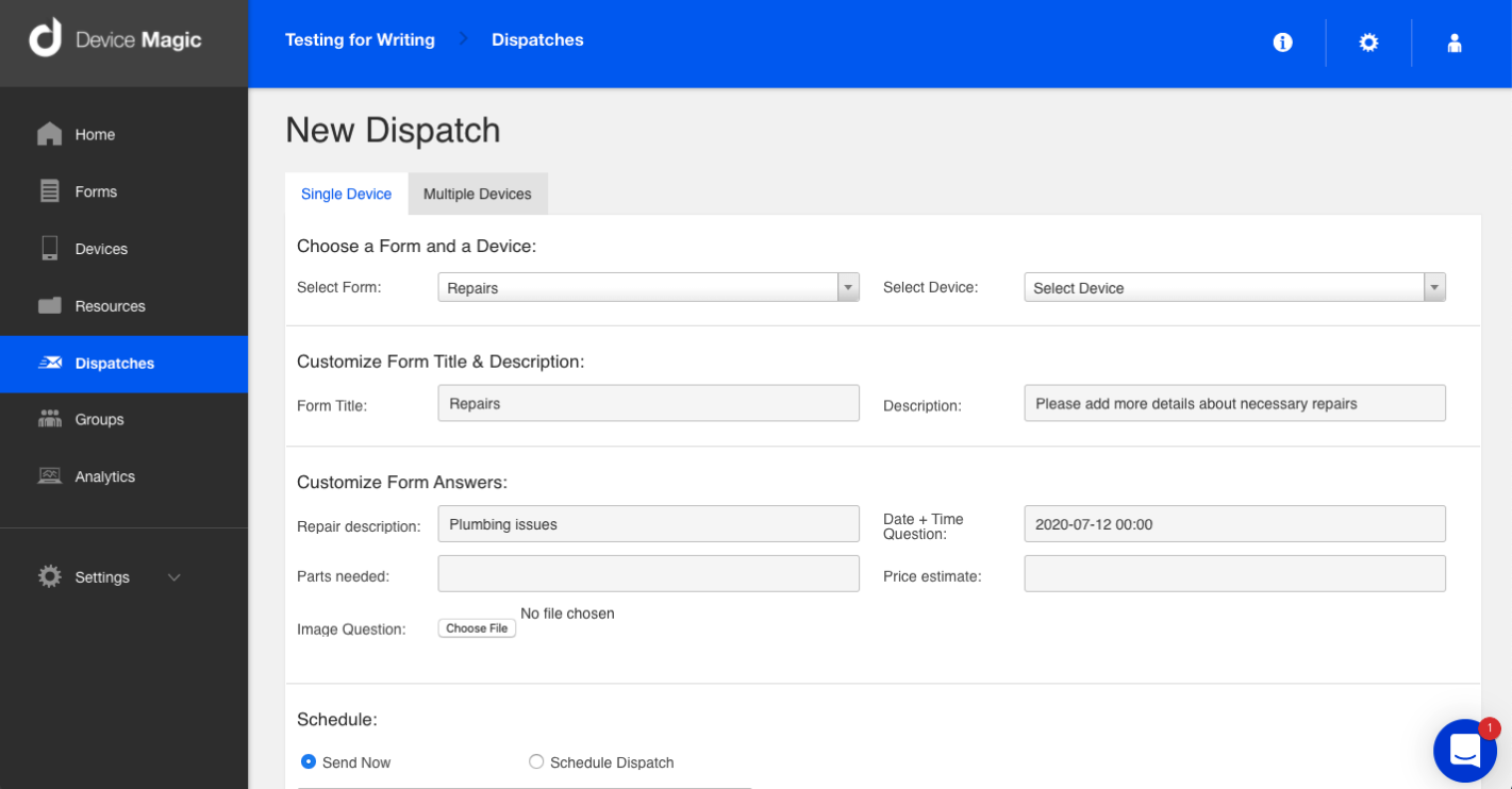 Pre-fill form data with Device Magic's Dispatch feature.
