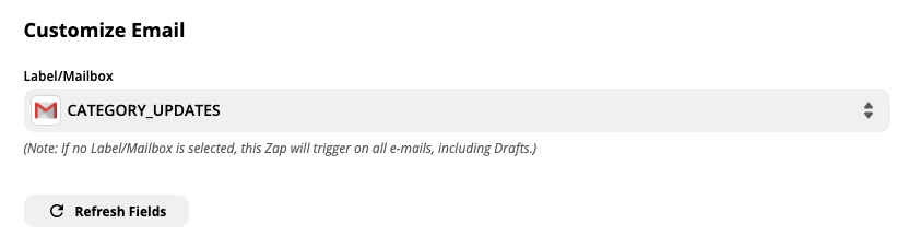Customize Gmail email trigger options