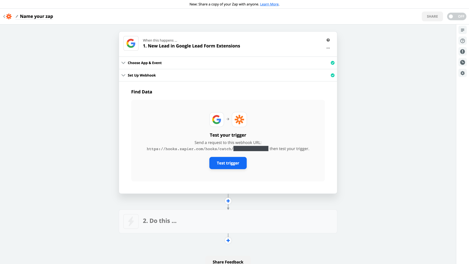 Google Lead Form Extension connection successful
