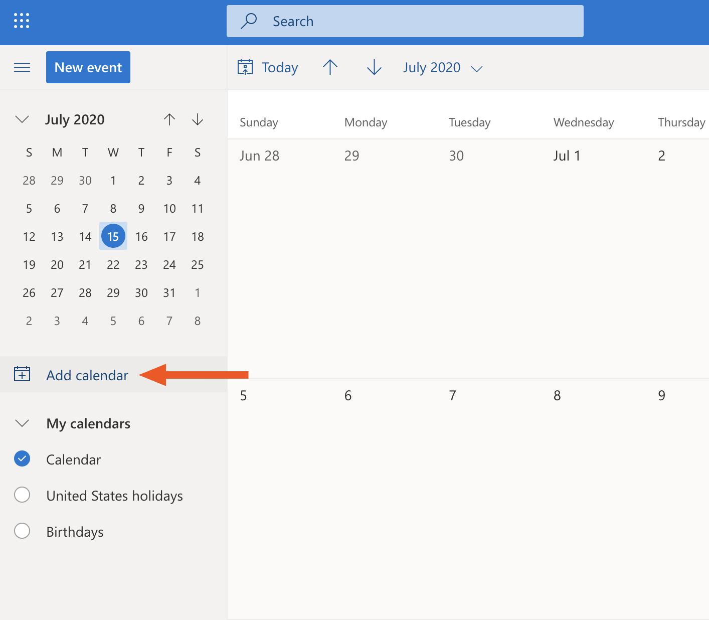 Add a calendar in Outlook.com