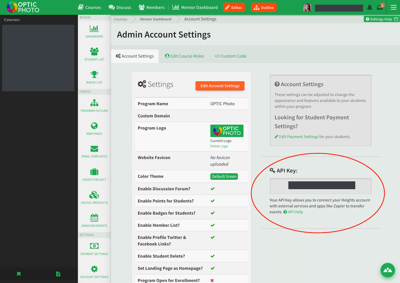 Heights Platform API Key in account