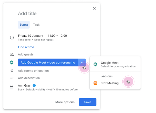 New Google Meet button in Google Calendar