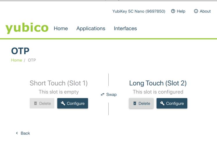 YubiKey swap OTP slots