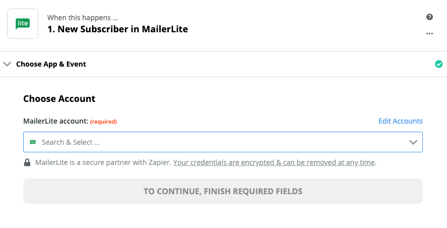 Click to connect MailerLite