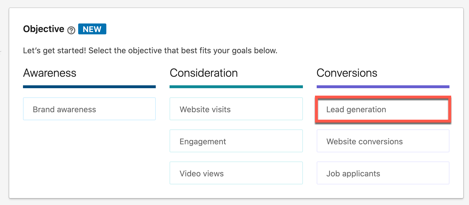 The Objective area of LinkedIn. Under Conversions is Lead generation