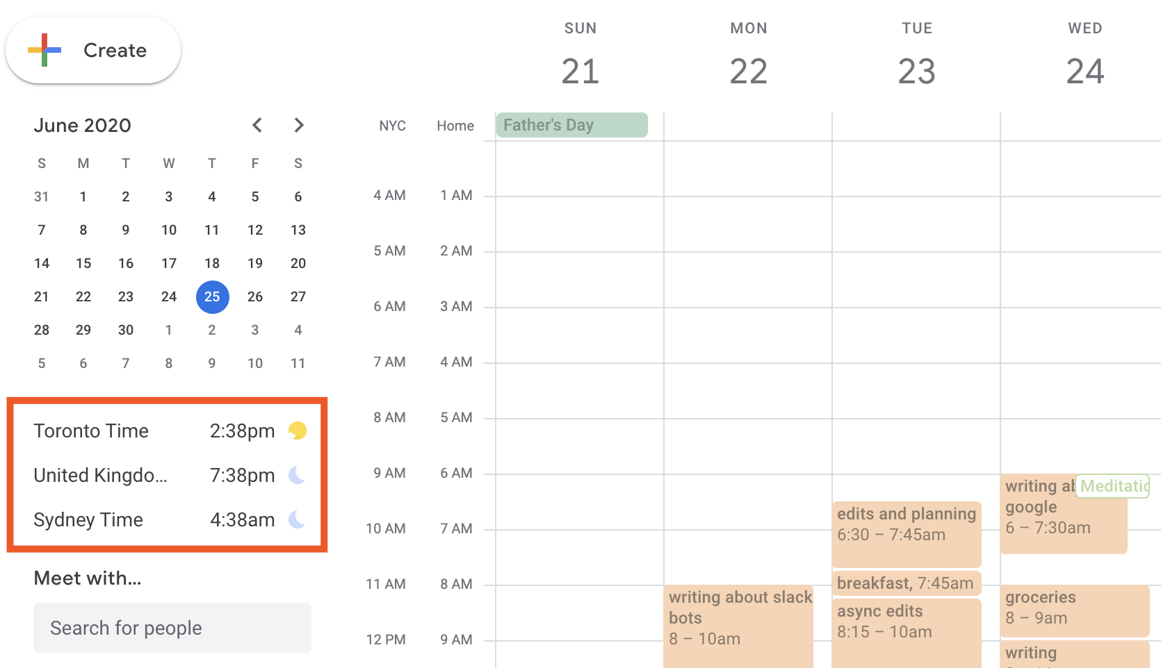 Three world clocks below the mini calendar in Google Calendar