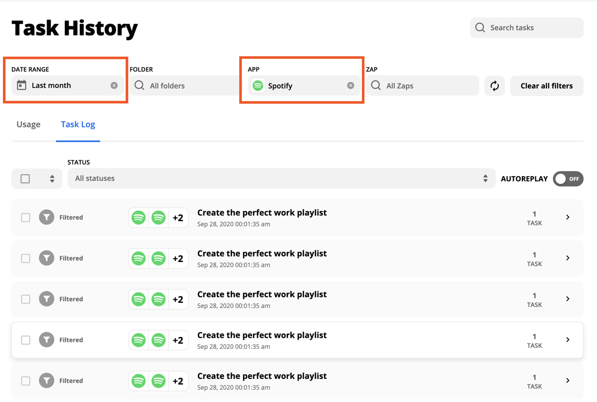Highlighting the Date Range and App fields in the Task History page