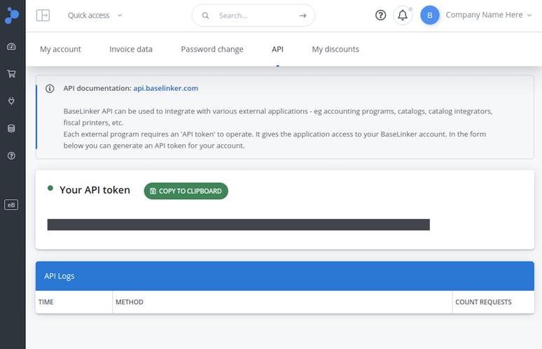 BaseLinker API Key in account