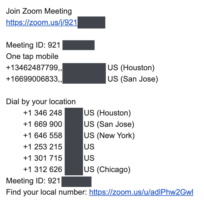 Zoom phone numbers in the email reminder