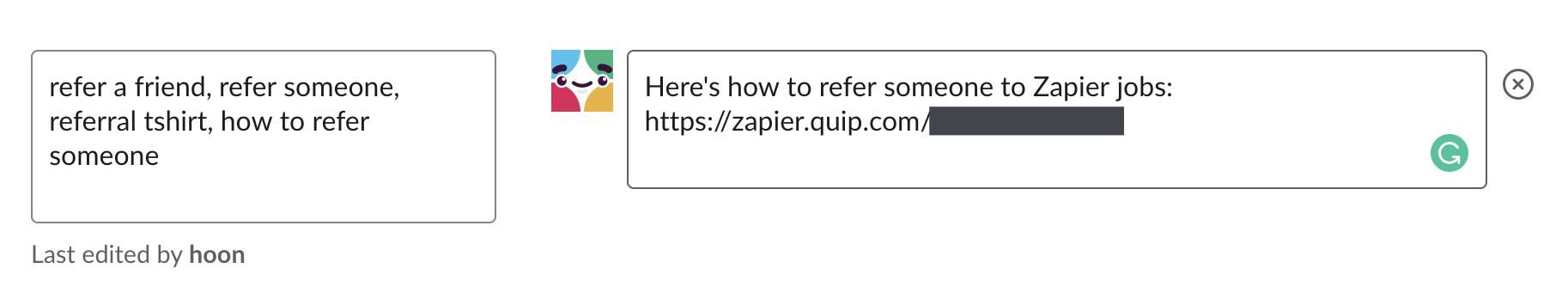 Slackbot response for referrals
