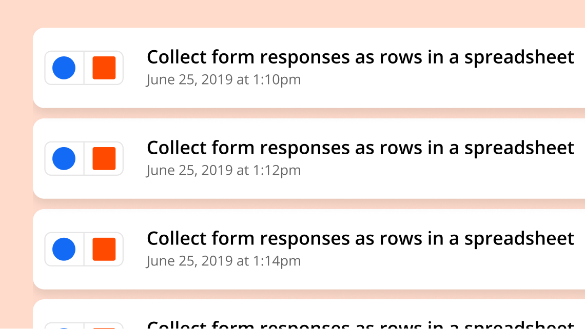 A visual representation of multiple tasks performed by Zapier.