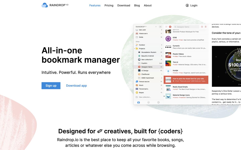 Raindrop.io home page