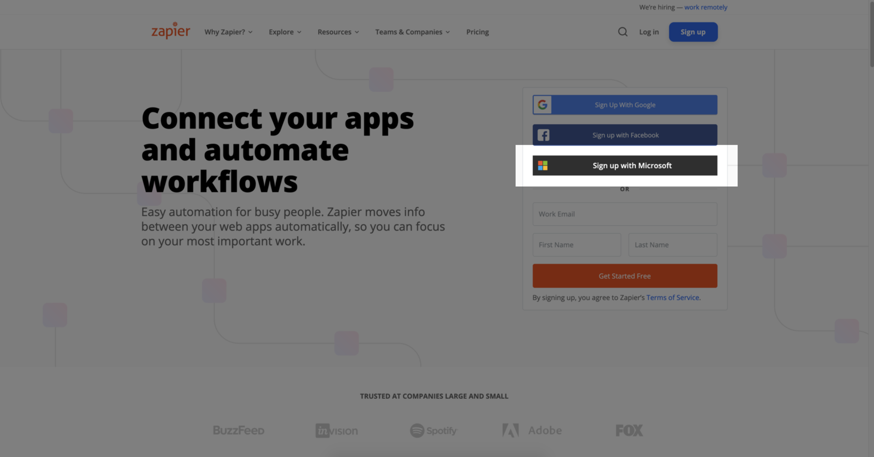 You can sign into Zapier with your Microsoft 365 credentials.