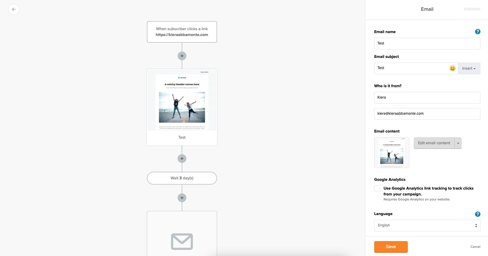 MailerLite email newsletter editor