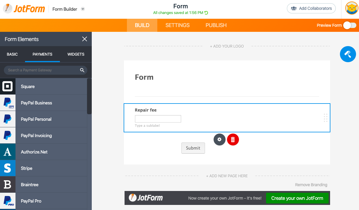 Accept payments in mobile forms with JotForm.