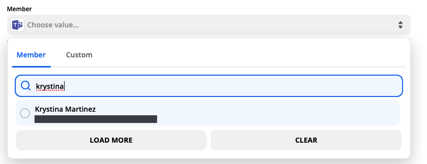 A screenshot of selecting a specific Microsoft Teams user from a dropdown menu.