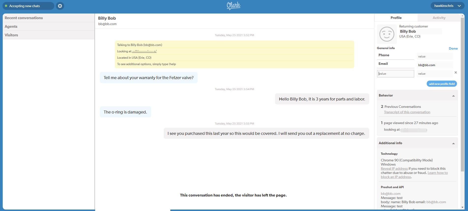 Screenshot of Olark