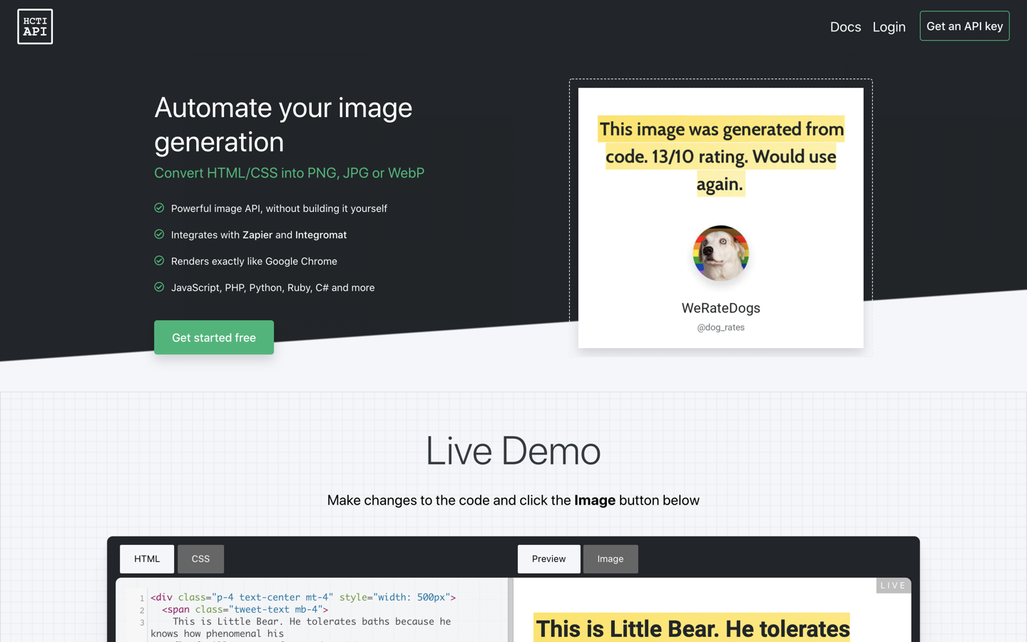 HTML/CSS to Image home page