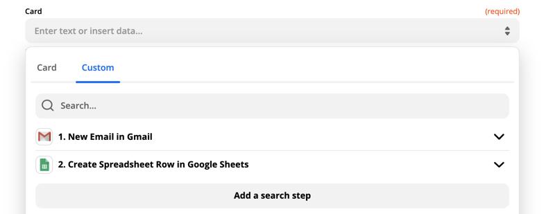Trello update card search step