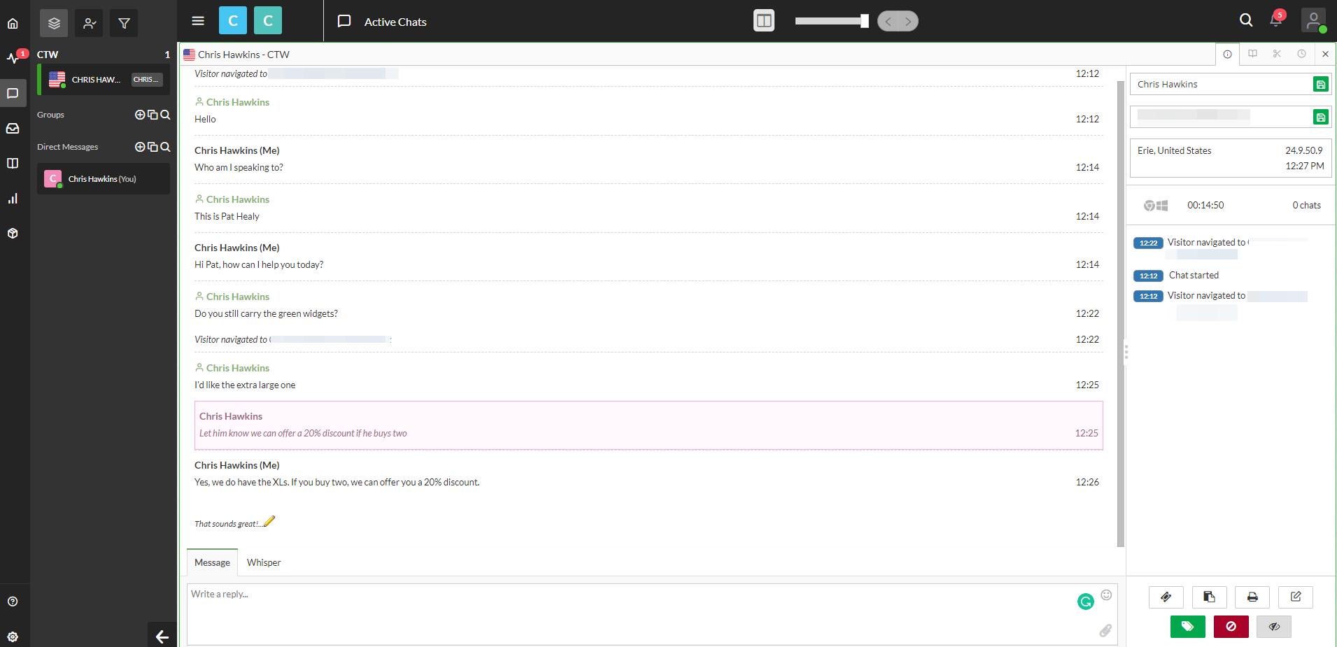 Screenshot of tawk.to