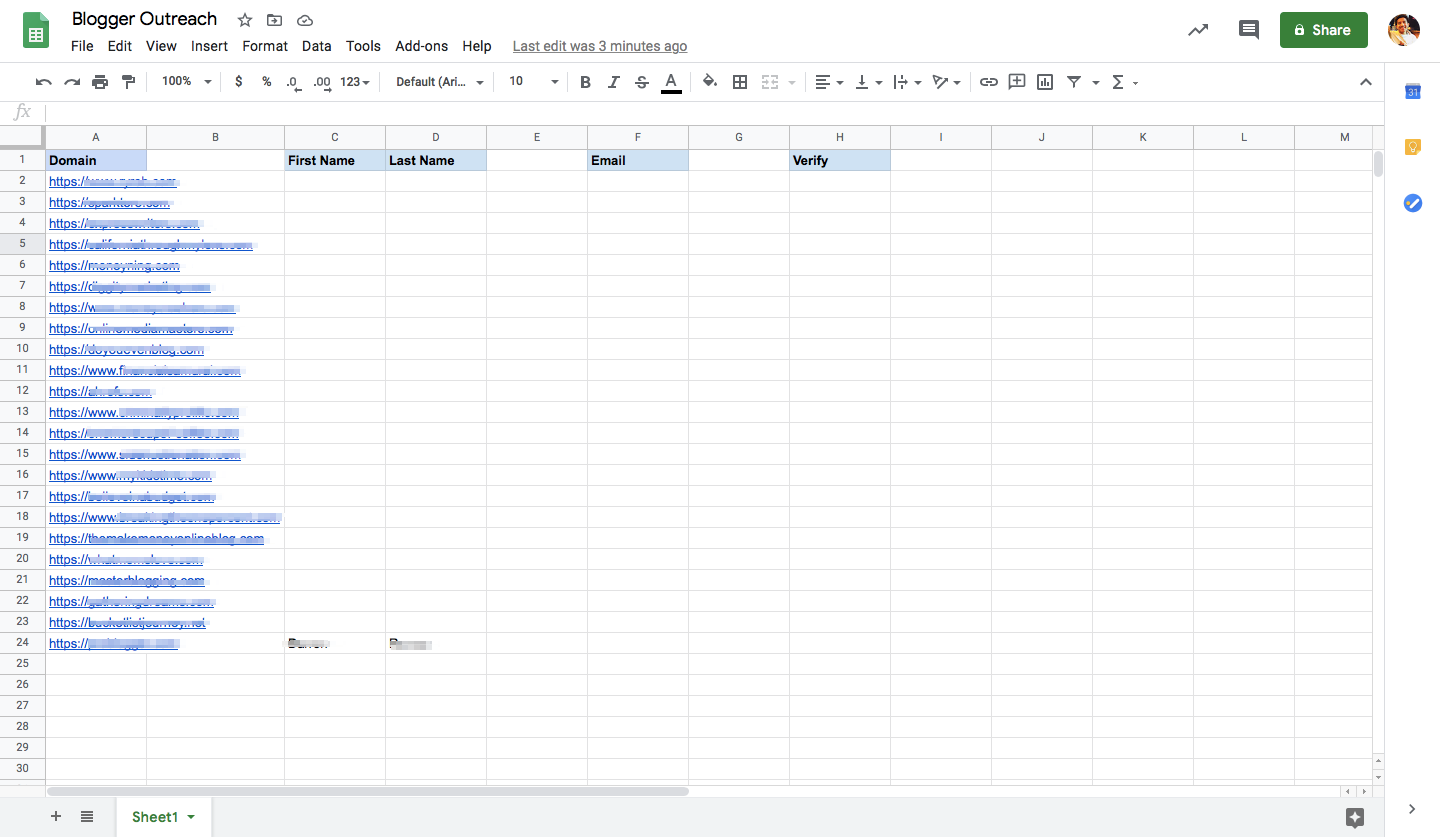 A spreadsheet with columns for domain, first name, last name, email, and verify.