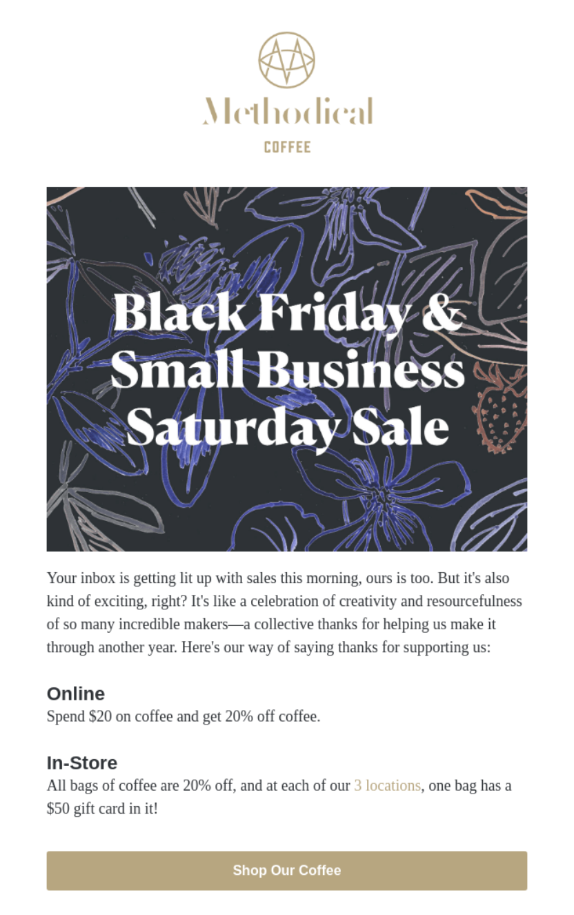Promotion for Black Friday and Small Business Saturday from Methodical Coffee
