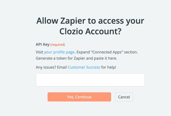 Clozio API Key