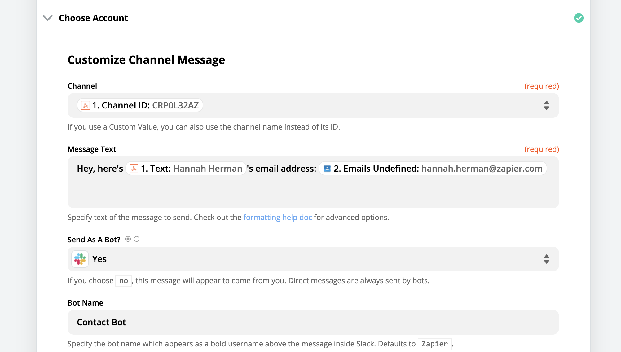 Select correct Slack channel