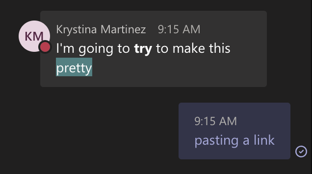 Formatting in Teams' meeting chat