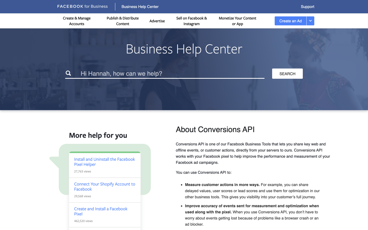 Facebook Conversions home page