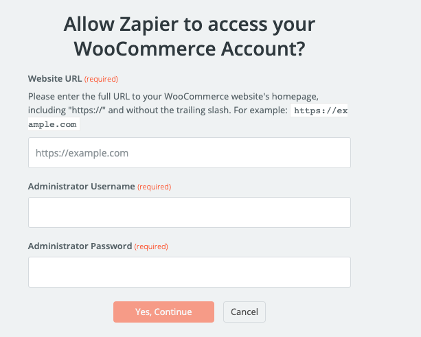 WooCommerce username and password